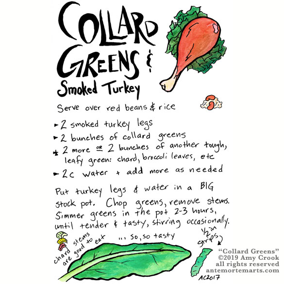 Collard Greens, an illustrated recipe by Amy Crook