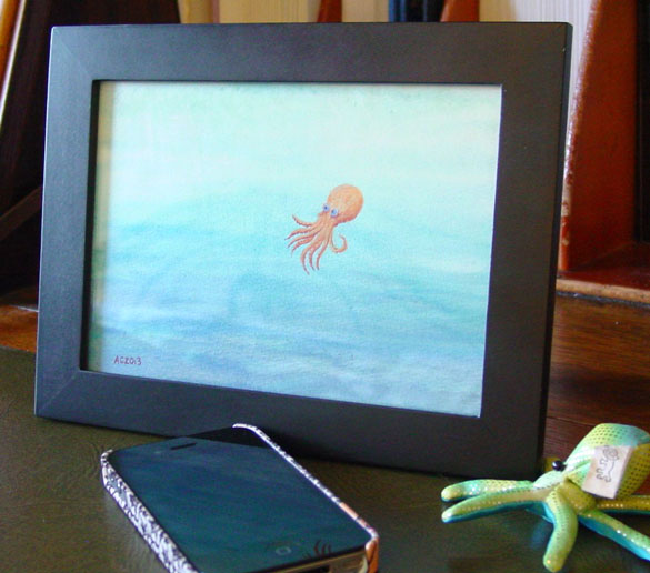 Copper Octopus, framed art by Amy Crook