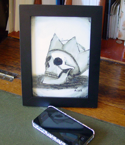 Crowned Skull, framed art by Amy Crook