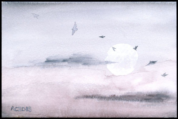 Crows at Dusk, watercolor skyscape by Amy Crook