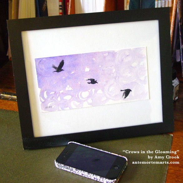 Crows in the Gloaming, framed art by Amy Crook
