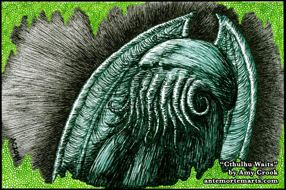 Cthulhu Waits, pen and ink art by Amy Crook