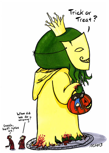 Trick or Treat, Cthulhu parody art by Amy Crook