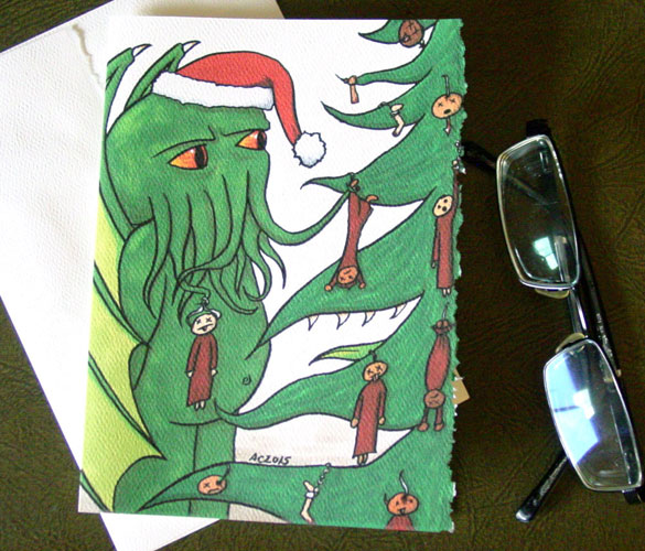Tree Trimming, a Cthulhu holiday card by Amy Crook on Etsy