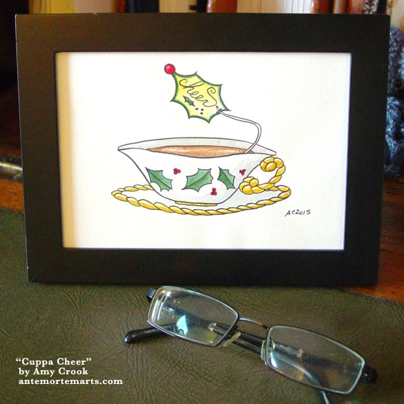Cuppa Cheer, framed art by Amy Crook