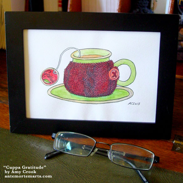 Cuppa Gratitude, framed art by Amy Crook