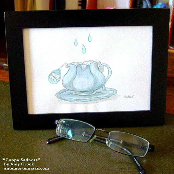 Cuppa Sadness, framed art by Amy Crook