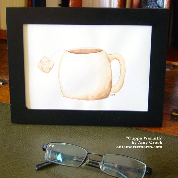 Cuppa Warmth, framed art by Amy Crook