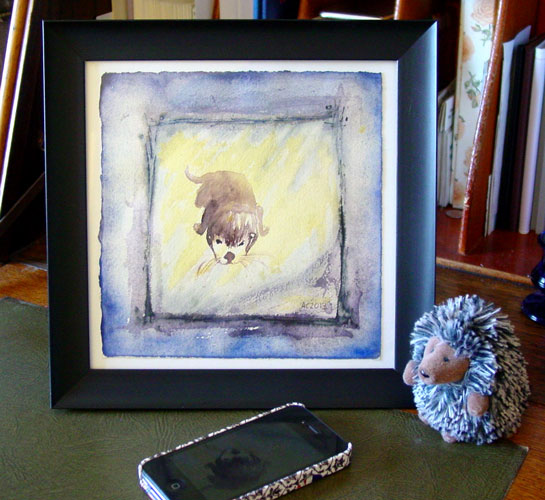 Curious Otter, framed art by Amy Crook