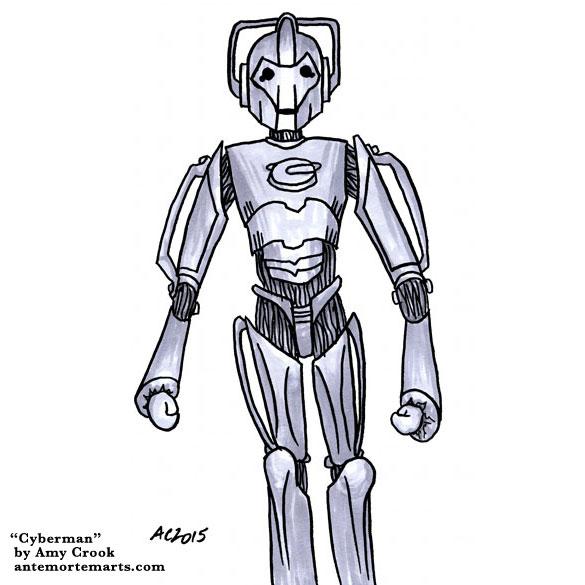 Cyberman, Doctor Who fan art by Amy Crook