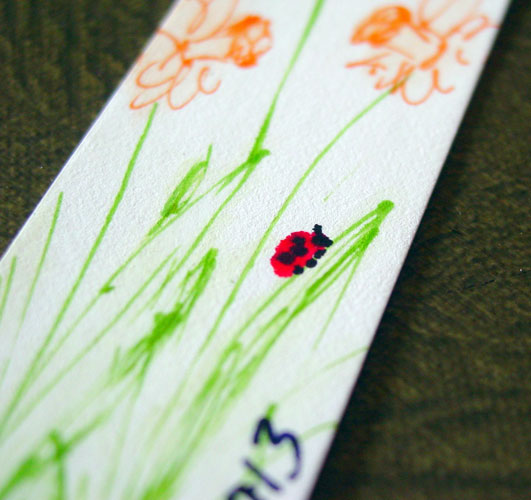 Daffodils bookmark, detail, by Amy Crook