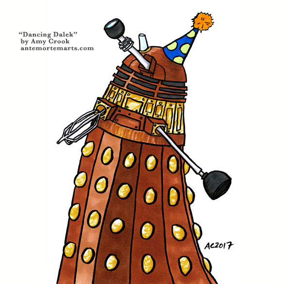 Dancing Dalek, Doctor Who parody art by Amy Crook