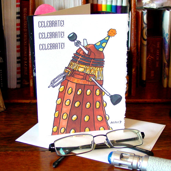Celebrate! Dalek greeting card by Amy Crook on Etsy