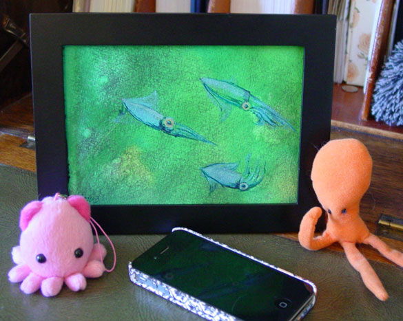 A Trio of Dancing Squid, framed art by Amy Crook