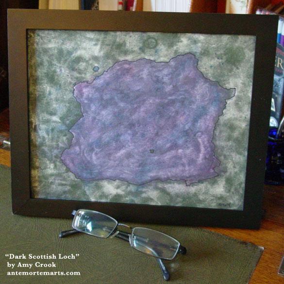 Dark Scottish Loch, framed art by Amy Crook