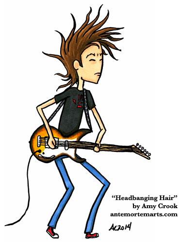 Headbanging Hair, Daron's Guitar Chronicles art by Amy Crook