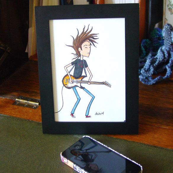 Headbanging Hair, framed art by Amy Crook