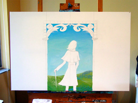 Denoument commission, work in progress by Amy Crook