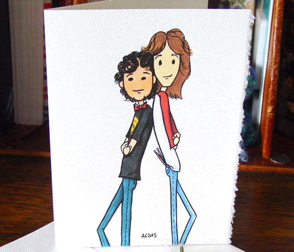 Bart & Chris greeting card at Etsy by Amy Crook