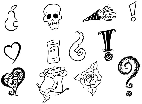 Free black and white dingbats by Amy Crook