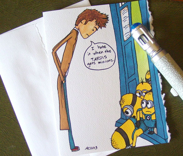 The TARDIS has Minions, blank greeting card by Amy Crook at Etsy