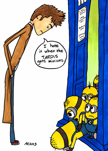 The TARDIS has Minions, Doctor Who parody art by Amy Crook