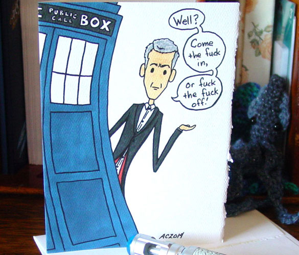 In or Out, Doctor Who greeting card by Amy Crook on Etsy