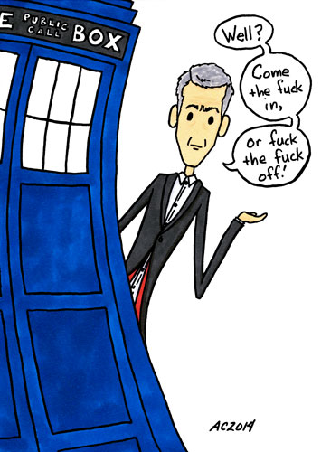 In or Out, Doctor Who parody art by Amy Crook