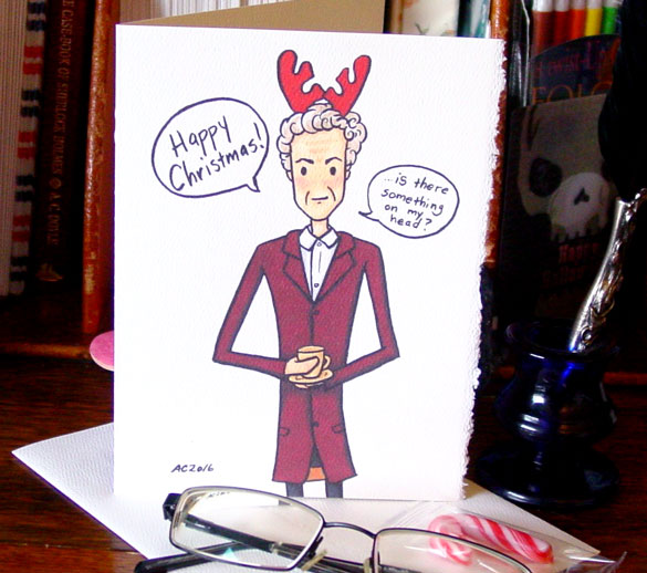 Twelfth Doctor Christmas card by Amy Crook on Etsy