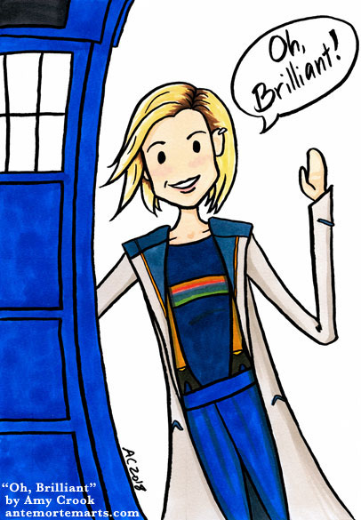 parody cartoon of the 13th Doctor next to the TARDIS saying, Oh Brilliant!