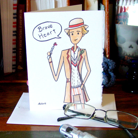 Fifth Doctor greeting card by Amy Crook on Etsy