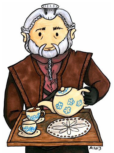 Tea With Dori, fan art for The Hobbit by Amy Crook