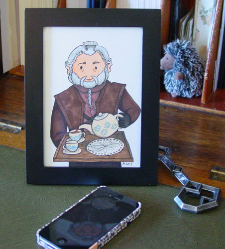 Tea With Dori, framed art by Amy Crook