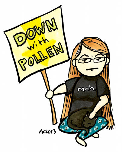 Down With Pollen, self portrait with kitty by Amy Crook