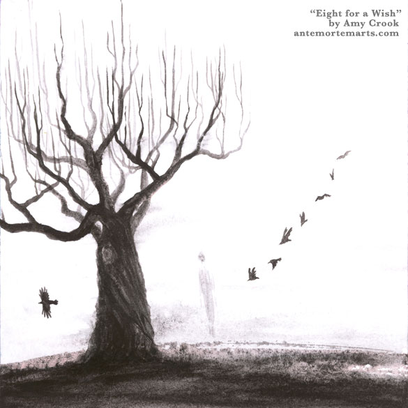 Eight for a Wish by Amy Crook, a gloomy watercolor of a bare tree, eight crows, and a grumpy ghost
