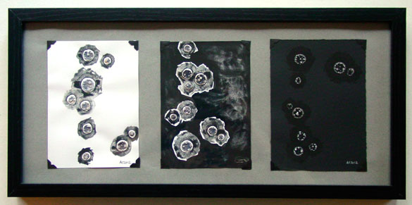 Event Horizons: Black, Blacker, Blackest watercolor triptych by Amy Crook