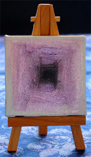 Ever Outward, tiny painting on display easel by Amy Crook