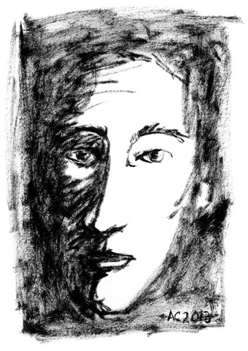Face sketch in brush pen by Amy Crook
