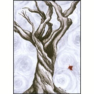 a bare, twisted tree with a single falling red leaf in front of swirling grey fog, ink art by Amy Crook