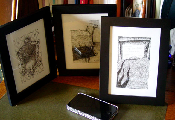 A Series of Uncanny Fears, 3 pieces of framed art by Amy Crook
