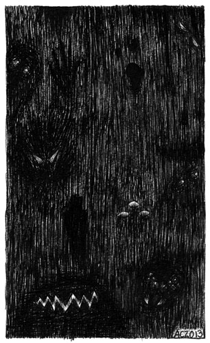 A Series of Uncanny Fears: The Dark, pen and ink art by Amy Crook