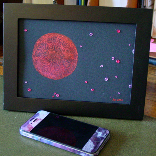 Filigree Planet, framed art by Amy Crook