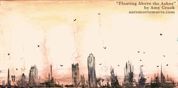 Floating Above the Ashes by Amy Crook, delicate ruins smoking in front of a ruddy sunset sky, birds flying above