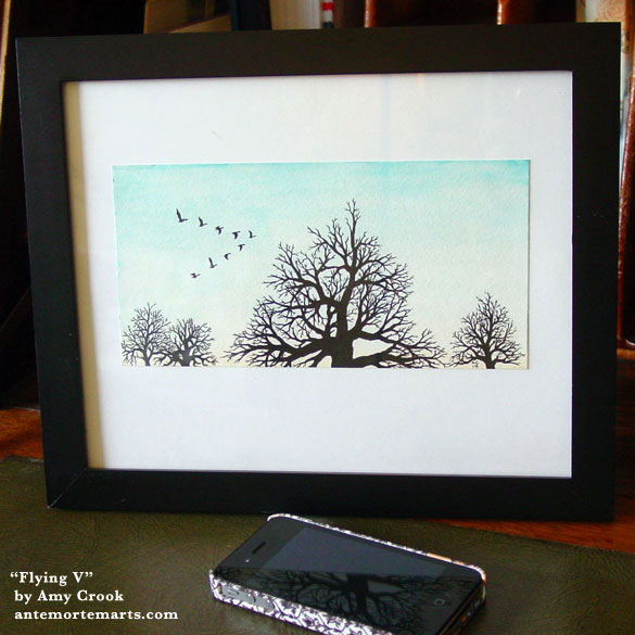 Flying V, framed art by Amy Crook