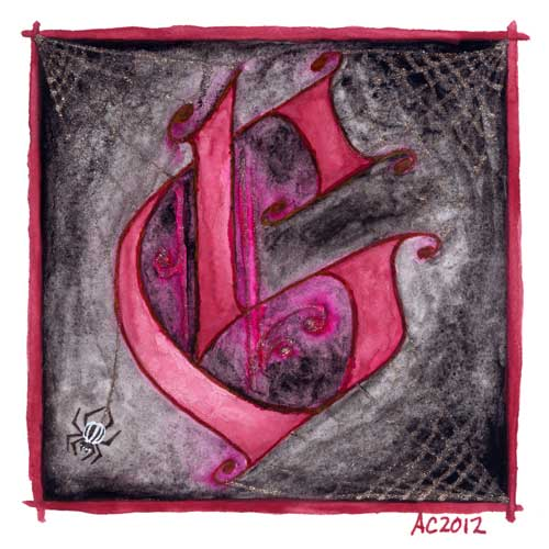 G is for Gothic, calligraphic illumination by Amy Crook
