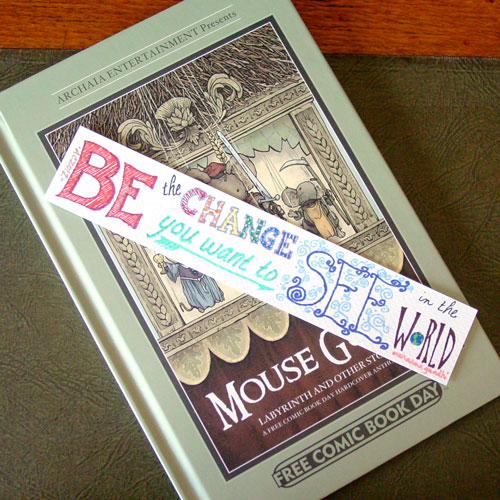 Be the Change Bookmark, with book, by Amy Crook