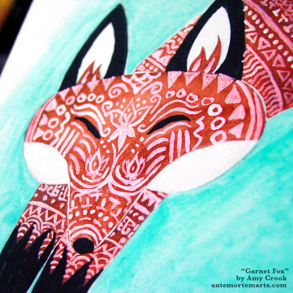 Garnet Fox, detail, by Amy Crook