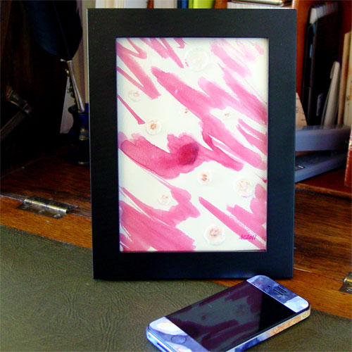 Genuine Pink, framed art by Amy Crook