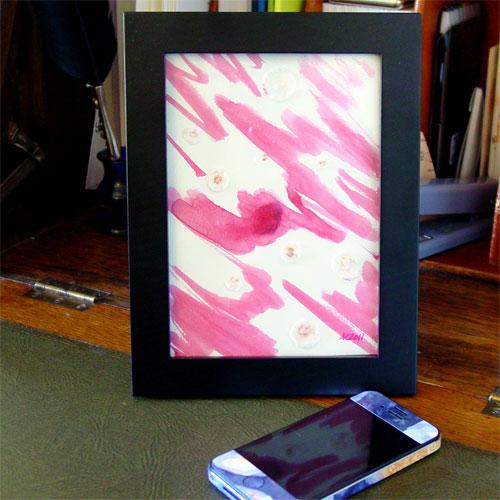 Genuine Pink, framed art by Amy Crook