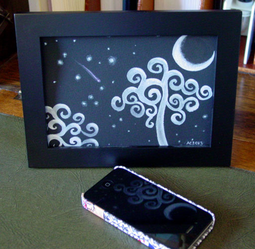Ghost Moon, framed art by Amy Crook